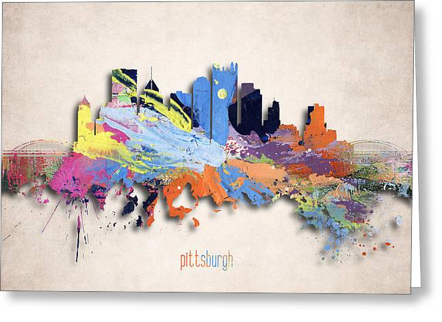 Downtown Pittsburgh Greeting Cards - Pittsburgh Painted City Skyline Greeting Card by World Art Prints And Designs