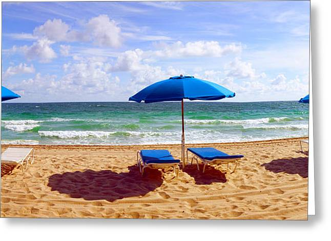 Fort Lauderdale Greeting Cards - Lounge Chairs And Beach Umbrellas Greeting Card by Panoramic Images