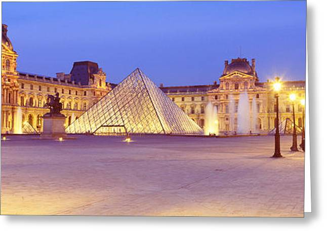 Pyramids Greeting Cards - Louvre Museum, Paris, France Greeting Card by Panoramic Images