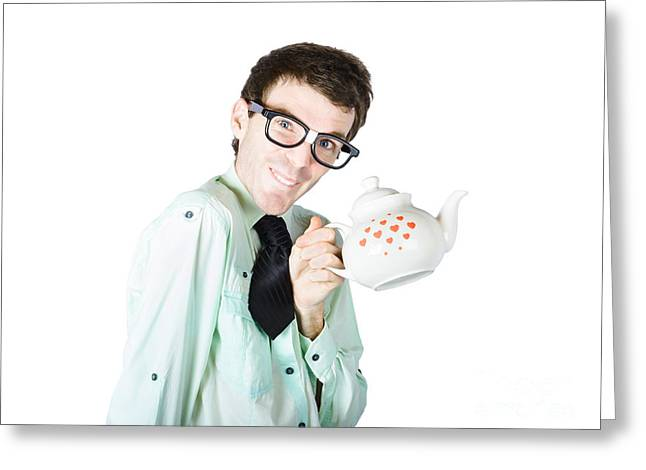 Tea Shirts Greeting Cards - Lovable man holding coffee pot Greeting Card by Ryan Jorgensen