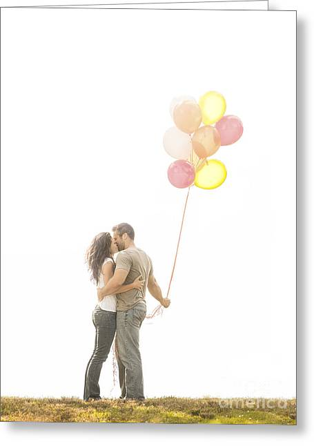 Couple Kissing Greeting Cards - Love and Balloons Greeting Card by Diane Diederich