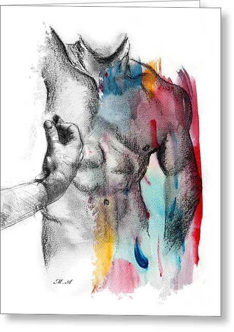 Erotic Male Drawings Greeting Cards - Love Colors 5 Greeting Card by Mark Ashkenazi