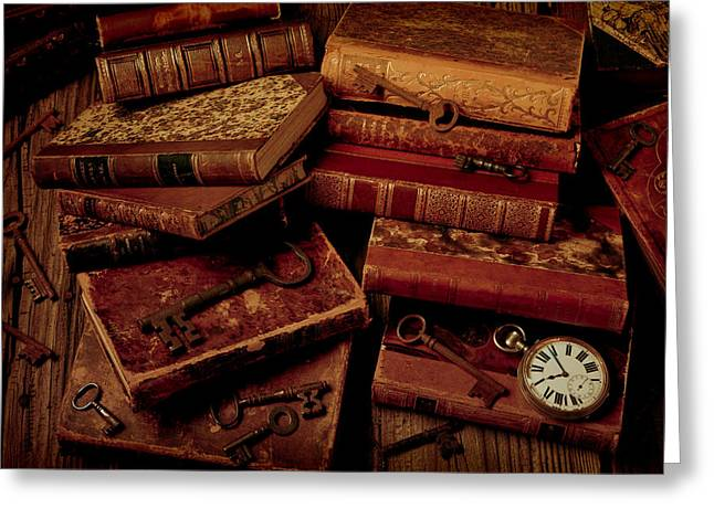Wooden Table Greeting Cards - Love Old Books Greeting Card by Garry Gay