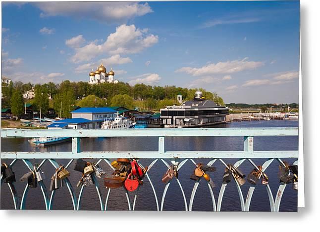 Padlock Greeting Cards - Love Padlocks At The Town Park, Volga Greeting Card by Panoramic Images