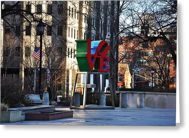 """love Park"" Greeting Cards - Love Park in Philadelphia Greeting Card by Bill Cannon"
