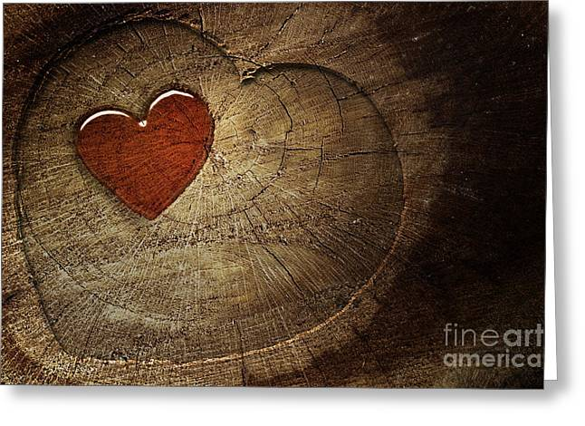 Mythja Digital Art Greeting Cards - Love text on  wooden background Greeting Card by Mythja  Photography
