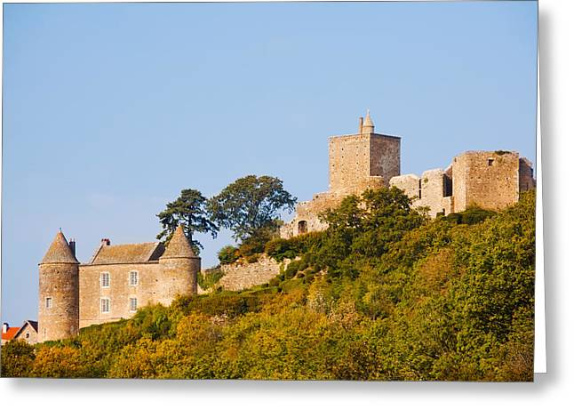 Burgundy Greeting Cards - Low Angle View Of A Castle On A Hill Greeting Card by Panoramic Images