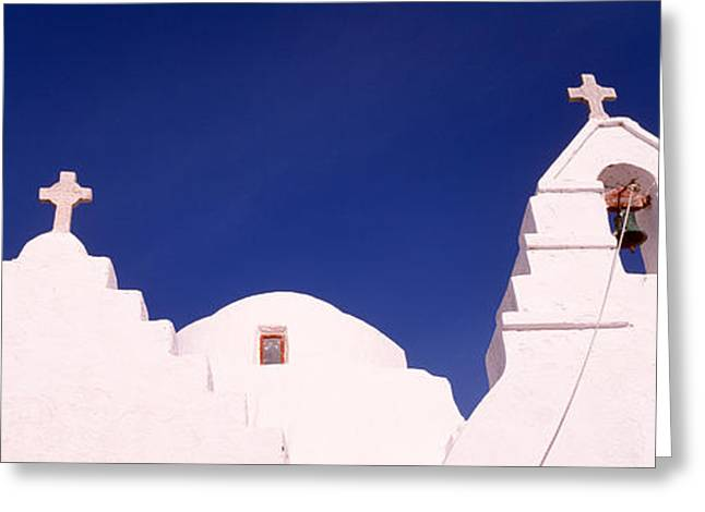 Low Angle View Of A Church, Mykonos Greeting Card by Panoramic Images