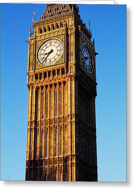 Town Clock Tower Greeting Cards - Low Angle View Of A Clock Tower, Big Greeting Card by Panoramic Images