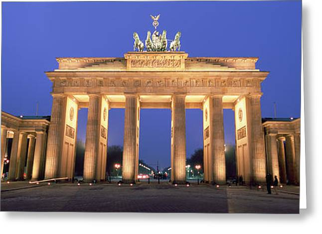 Horse Images Greeting Cards - Low Angle View Of A Gate Lit Greeting Card by Panoramic Images