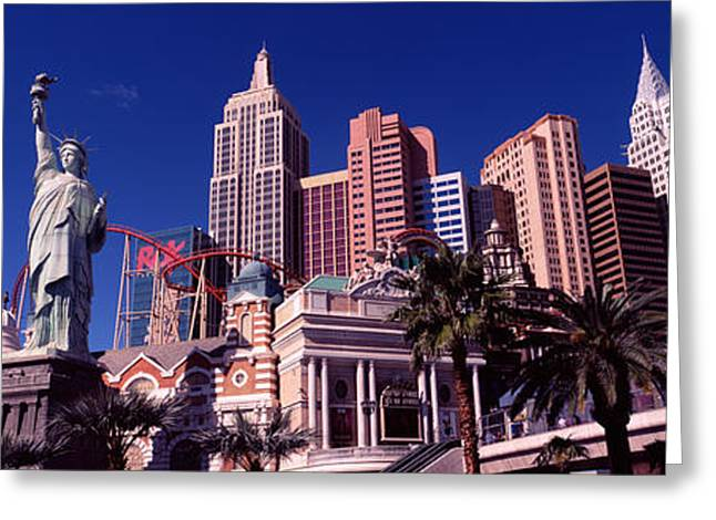 Las Vegas Greeting Cards - Low Angle View Of A Hotel, New York New Greeting Card by Panoramic Images