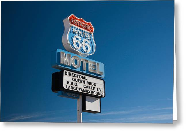 Route 66 Motel Sign Greeting Cards - Low Angle View Of A Motel Sign, Route Greeting Card by Panoramic Images