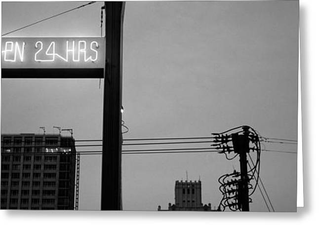 Black 7 White Greeting Cards - Low Angle View Of A Neon Sign, San Greeting Card by Panoramic Images