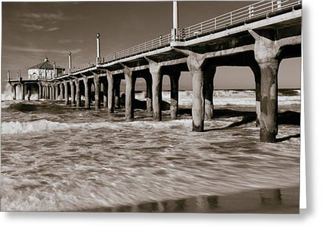 California Beach Image Greeting Cards - Low Angle View Of A Pier, Manhattan Greeting Card by Panoramic Images
