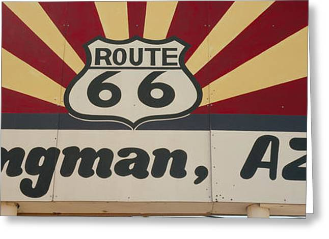 Low Road Greeting Cards - Low Angle View Of A Road Sign, Route Greeting Card by Panoramic Images