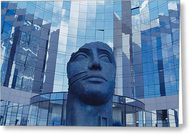Reflection In Glass Greeting Cards - Low Angle View Of A Statue In Front Of Greeting Card by Panoramic Images