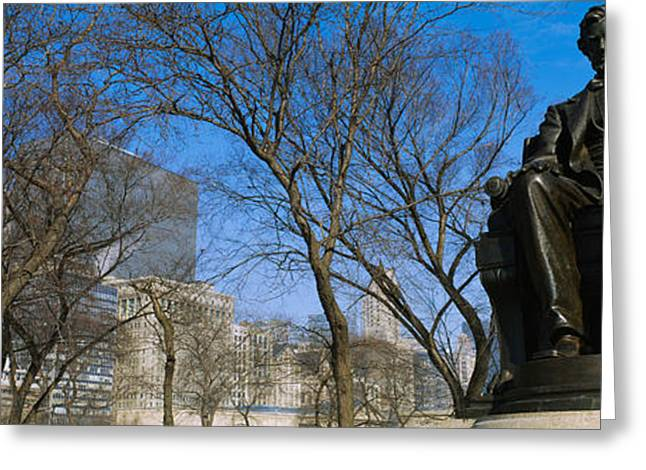 Bare Trees Greeting Cards - Low Angle View Of A Statue Of Abraham Greeting Card by Panoramic Images