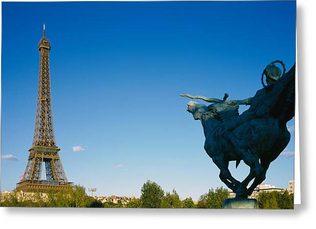 Horse Images Greeting Cards - Low Angle View Of A Tower, Eiffel Greeting Card by Panoramic Images