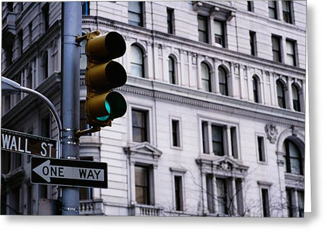 Traffic Lights Greeting Cards - Low Angle View Of A Traffic Light Greeting Card by Panoramic Images