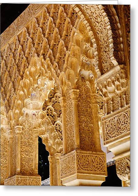 Low Angle View Of Carving On Arches Greeting Card by Panoramic Images