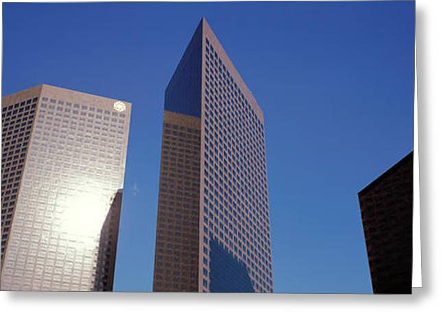 Geometric Image Greeting Cards - Low Angle View Of Downtown Office Greeting Card by Panoramic Images