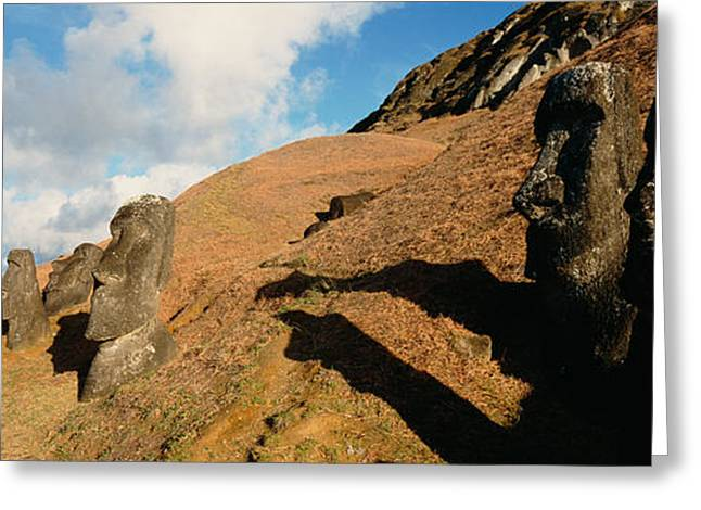 Civilization Greeting Cards - Low Angle View Of Moai Statues, Tahai Greeting Card by Panoramic Images