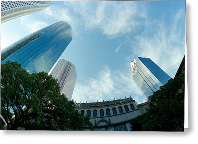 Fish Eye Lens Greeting Cards - Low Angle View Of Skyscrapers, Houston Greeting Card by Panoramic Images