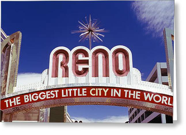 Script Greeting Cards - Low Angle View Of The Reno Arch Greeting Card by Panoramic Images