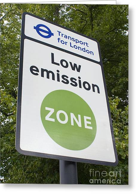 Carbon Dioxide Greeting Cards - Low Emission Zone Sign In Essex, Uk Greeting Card by Mark Williamson