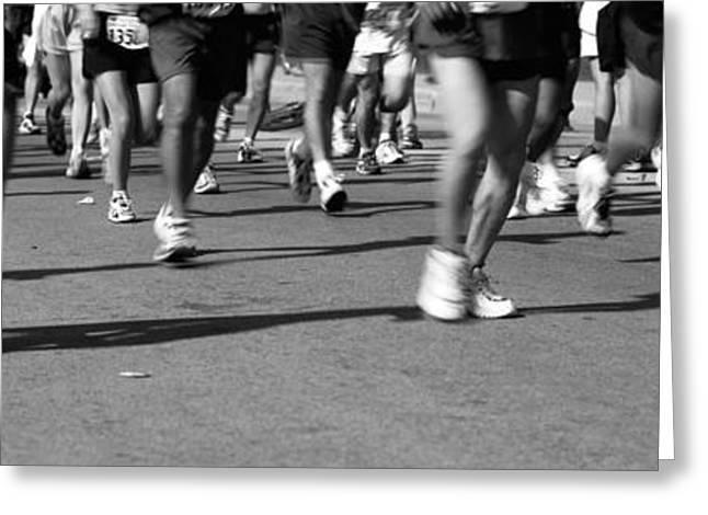 Endurance Sports Greeting Cards - Low Section View Of People Running Greeting Card by Panoramic Images