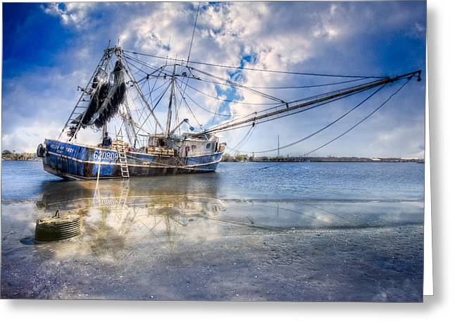 Docked Sailboats Greeting Cards - Low Tide Greeting Card by Debra and Dave Vanderlaan