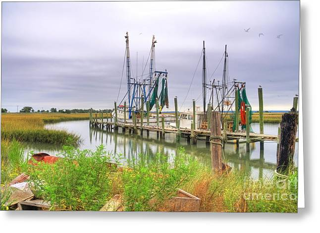 St. Helena Island Greeting Cards - Lowcountry Shrimp Dock Greeting Card by Scott Hansen