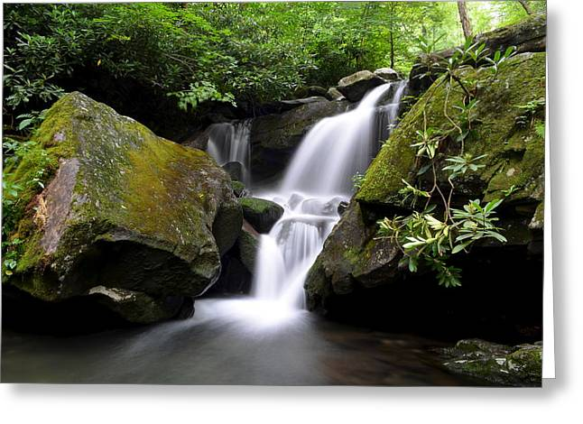 Jehovah Greeting Cards - Lower Grotto Falls Greeting Card by Frozen in Time Fine Art Photography