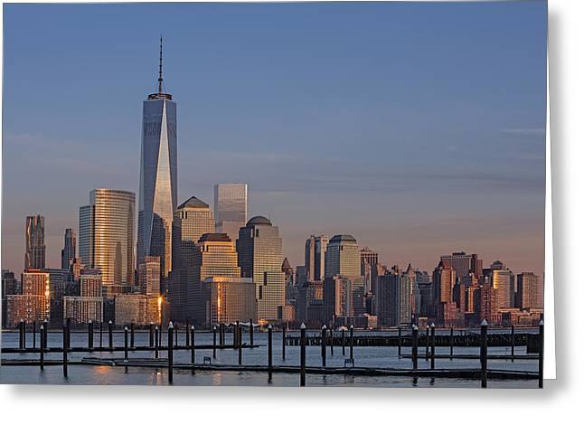 N.y. Greeting Cards - Lower Manhattan Skyline Greeting Card by Susan Candelario