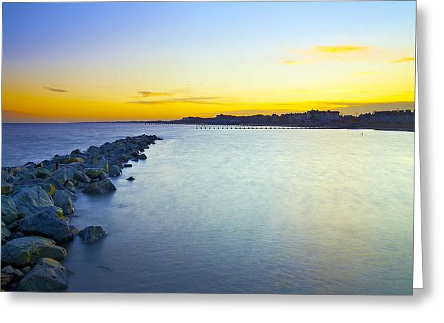 Summer Squall Greeting Cards - Lowestoft Breakwater Greeting Card by Michael Stretton