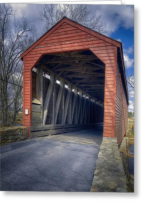 Loys Station Covered Bridge II Greeting Card by Joan Carroll
