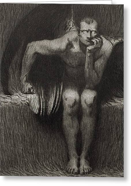 Dark Drawings Greeting Cards - Lucifer Greeting Card by Franz von Stuck