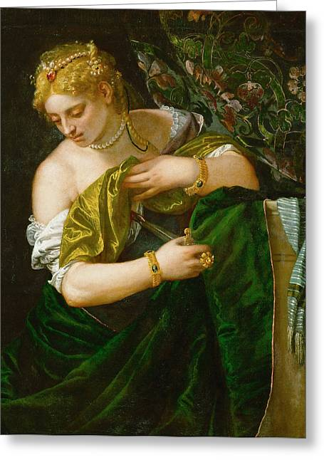 Lucretia Greeting Cards - Lucretia Greeting Card by Paolo Veronese