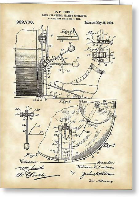 Invent Greeting Cards - Ludwig Drum and Cymbal Foot Pedal Patent 1909 - Vintage Greeting Card by Stephen Younts