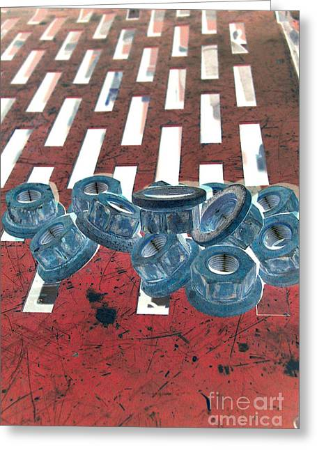 Lugs Greeting Cards - Lug Nuts on Grate Vertical Greeting Card by Heather Kirk