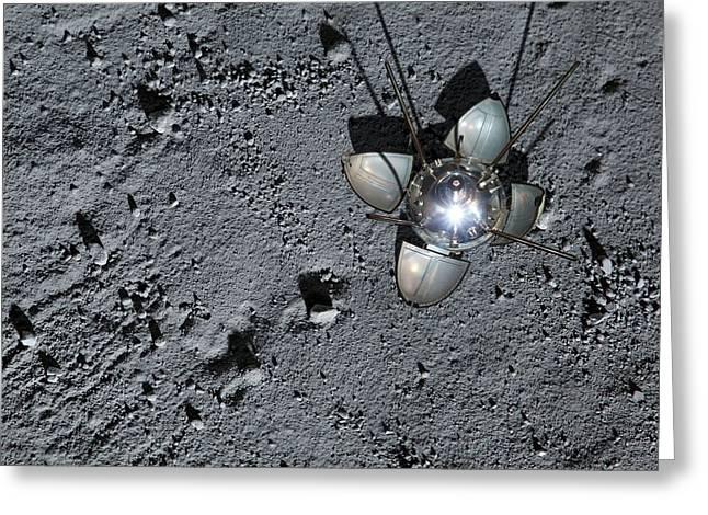 Luna 9 Landing Capsule Greeting Card by Detlev Van Ravenswaay
