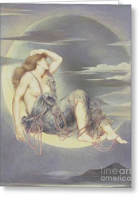 Williams Greeting Cards - Luna Greeting Card by Evelyn De Morgan