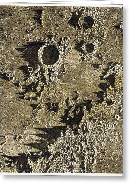 Mare Imbrium Greeting Cards - Lunar craters, 19th century Greeting Card by Science Photo Library
