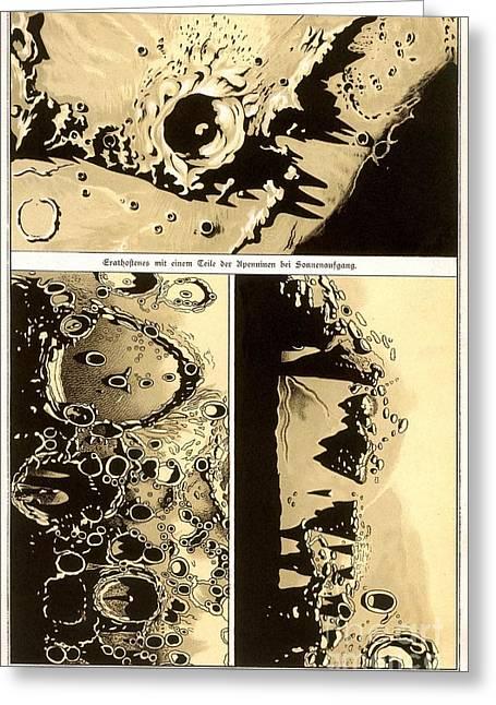 Selenology Greeting Cards - Lunar Landscape Observations, 1882 Greeting Card by Detlev van Ravenswaay