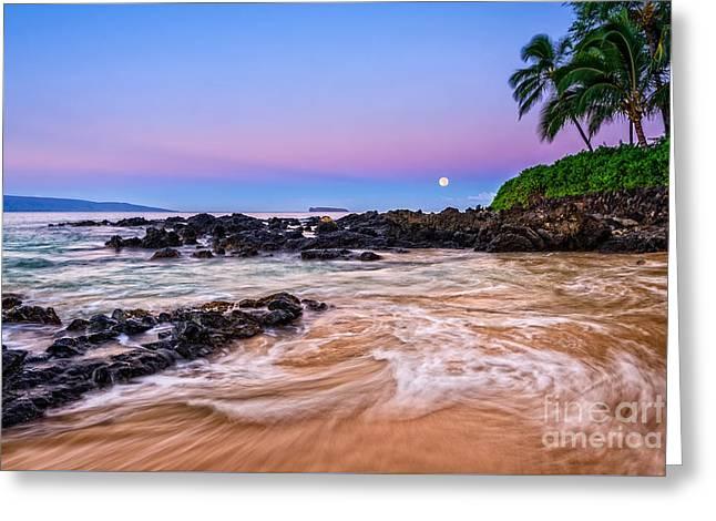 Moonrise Greeting Cards - Lunar Paradise Greeting Card by Jamie Pham