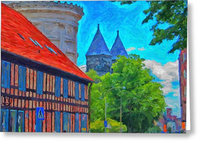 Lund Greeting Cards - Lund street scene Greeting Card by Antony McAulay