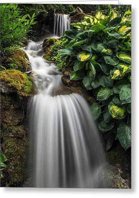 Lush Waterfall Greeting Card by Pierre Leclerc Photography