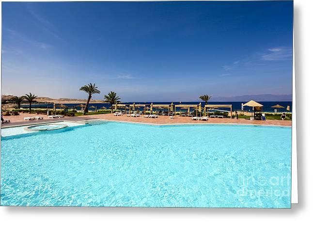 Tala Greeting Cards - Luxury Beach Resort Greeting Card by Gal Eitan