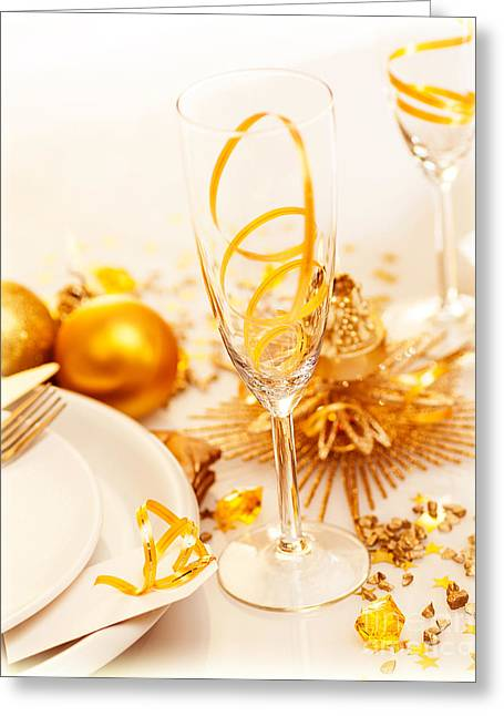 Banquet Greeting Cards - Luxury festive table setting Greeting Card by Anna Omelchenko