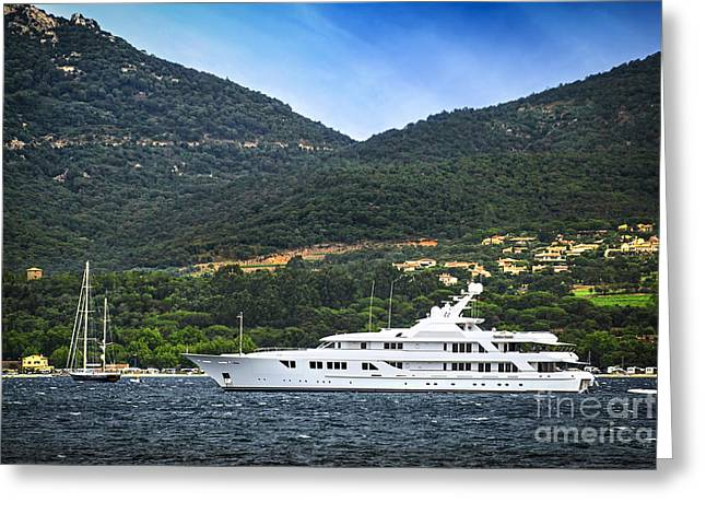 Cruising Photographs Greeting Cards - Luxury yacht at the coast of French Riviera Greeting Card by Elena Elisseeva